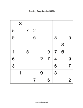 Sudoku - Easy A183 Printable Puzzle