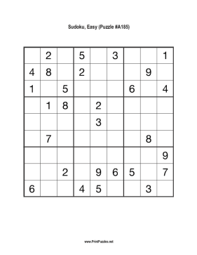 Sudoku - Easy A185 Printable Puzzle