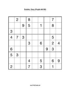 Sudoku - Easy A186 Printable Puzzle