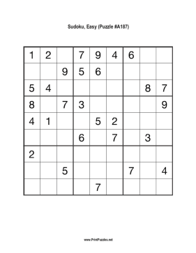 Sudoku - Easy A187 Printable Puzzle
