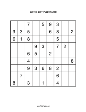 Sudoku - Easy A188 Printable Puzzle
