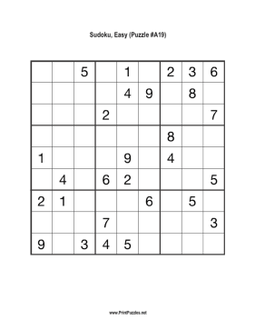 Sudoku - Easy A19 Printable Puzzle