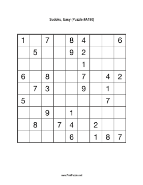 Sudoku - Easy A190 Printable Puzzle