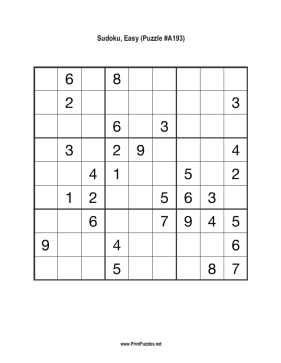 Sudoku - Easy A193 Printable Puzzle
