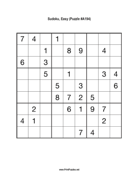 Sudoku - Easy A194 Printable Puzzle