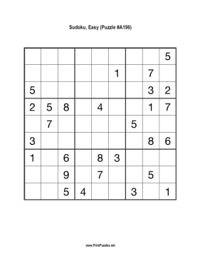 Sudoku - Easy A196 Printable Puzzle
