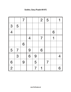 Sudoku - Easy A197 Printable Puzzle