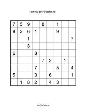 Sudoku - Easy A2 Printable Puzzle