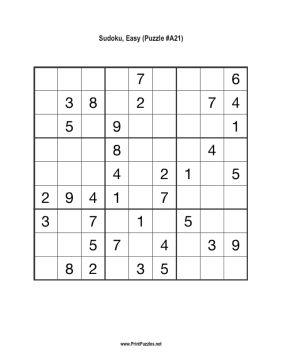 Sudoku - Easy A21 Printable Puzzle