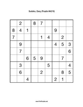 Sudoku - Easy A210 Printable Puzzle
