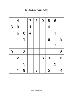 Sudoku - Easy A215 Printable Puzzle