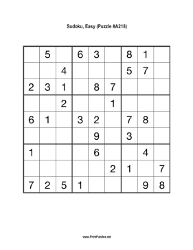 Sudoku - Easy A218 Printable Puzzle