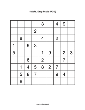 Sudoku - Easy A219 Printable Puzzle