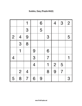 Sudoku - Easy A22 Printable Puzzle