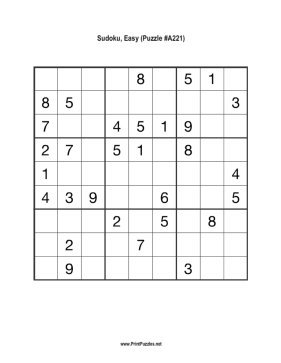 Sudoku - Easy A221 Printable Puzzle