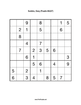 Sudoku - Easy A227 Printable Puzzle