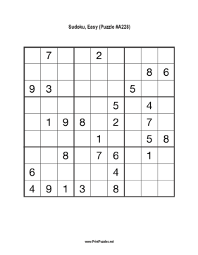 Sudoku - Easy A228 Printable Puzzle