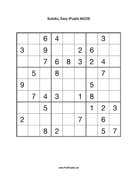 Sudoku - Easy A239 Printable Puzzle