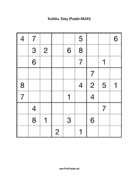 Sudoku - Easy A243 Printable Puzzle