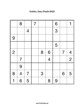 Sudoku - Easy A25 Printable Puzzle