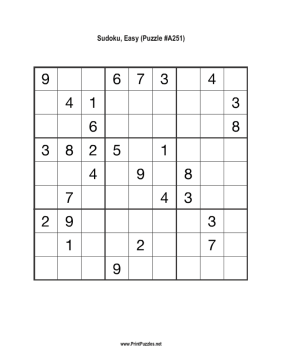 Sudoku - Easy A251 Printable Puzzle