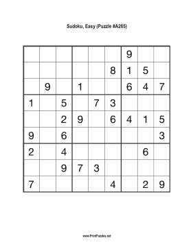 Sudoku - Easy A265 Printable Puzzle