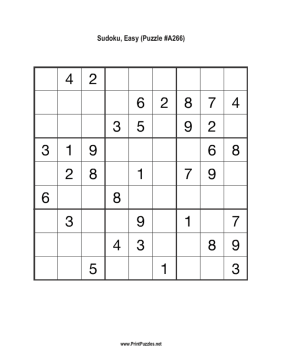 Sudoku - Easy A266 Printable Puzzle