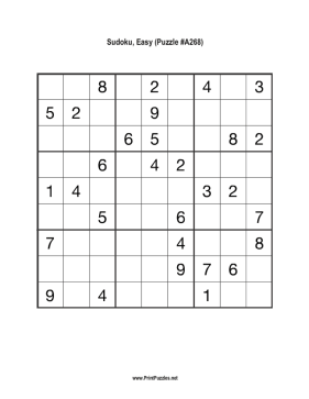 Sudoku - Easy A268 Printable Puzzle