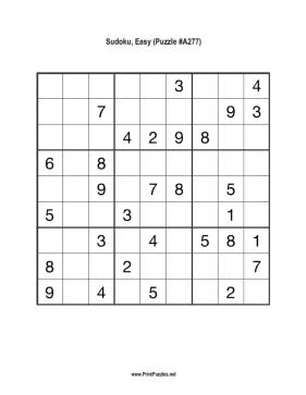 Sudoku - Easy A277 Printable Puzzle