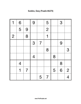 Sudoku - Easy A278 Printable Puzzle