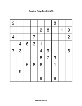 Sudoku - Easy A28 Printable Puzzle