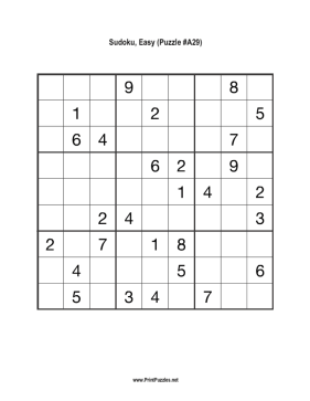 Sudoku - Easy A29 Printable Puzzle