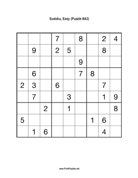 Sudoku - Easy A3 Printable Puzzle