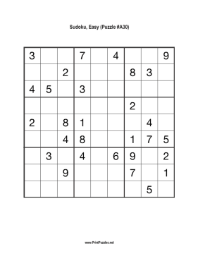 Sudoku - Easy A30 Printable Puzzle