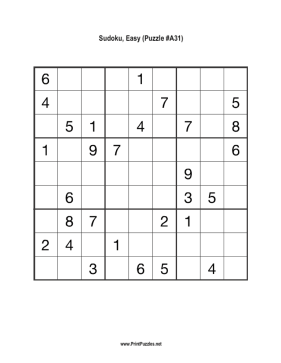 Sudoku - Easy A31 Printable Puzzle