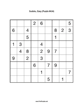 Sudoku - Easy A34 Printable Puzzle