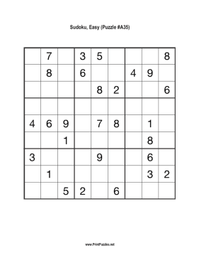 Sudoku - Easy A35 Printable Puzzle