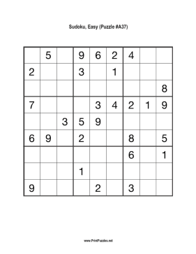 Sudoku - Easy A37 Printable Puzzle