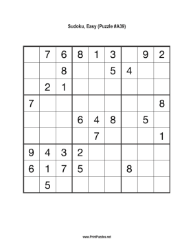 Sudoku - Easy A39 Printable Puzzle