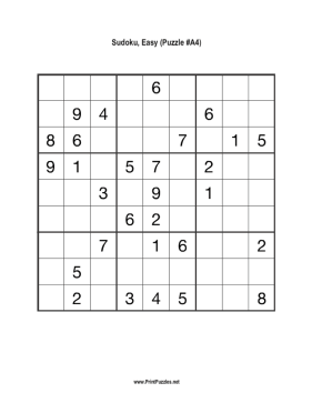image regarding 16 Square Sudoku Printable titled Sudoku - Very simple A4 Printable Puzzle
