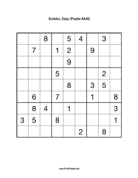 Sudoku - Easy A40 Printable Puzzle