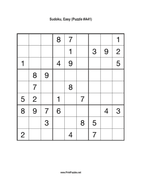 Sudoku - Easy A41 Printable Puzzle