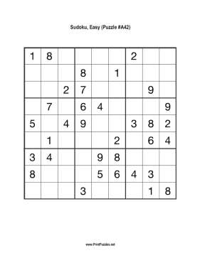 Sudoku - Easy A42 Printable Puzzle