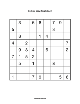 Sudoku - Easy A43 Printable Puzzle