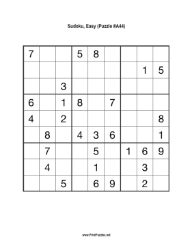 Sudoku - Easy A44 Printable Puzzle