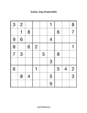 Sudoku - Easy A45 Printable Puzzle