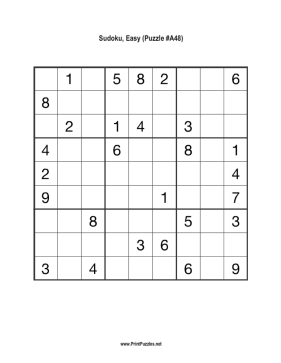 Sudoku - Easy A48 Printable Puzzle