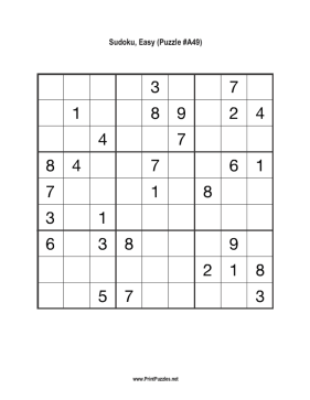 Sudoku - Easy A49 Printable Puzzle