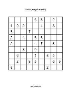 Sudoku - Easy A5 Printable Puzzle