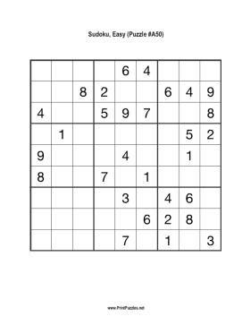 Sudoku - Easy A50 Printable Puzzle